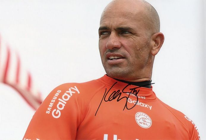 Kelly Slater, American surfer, signed 12x8 inch photo.